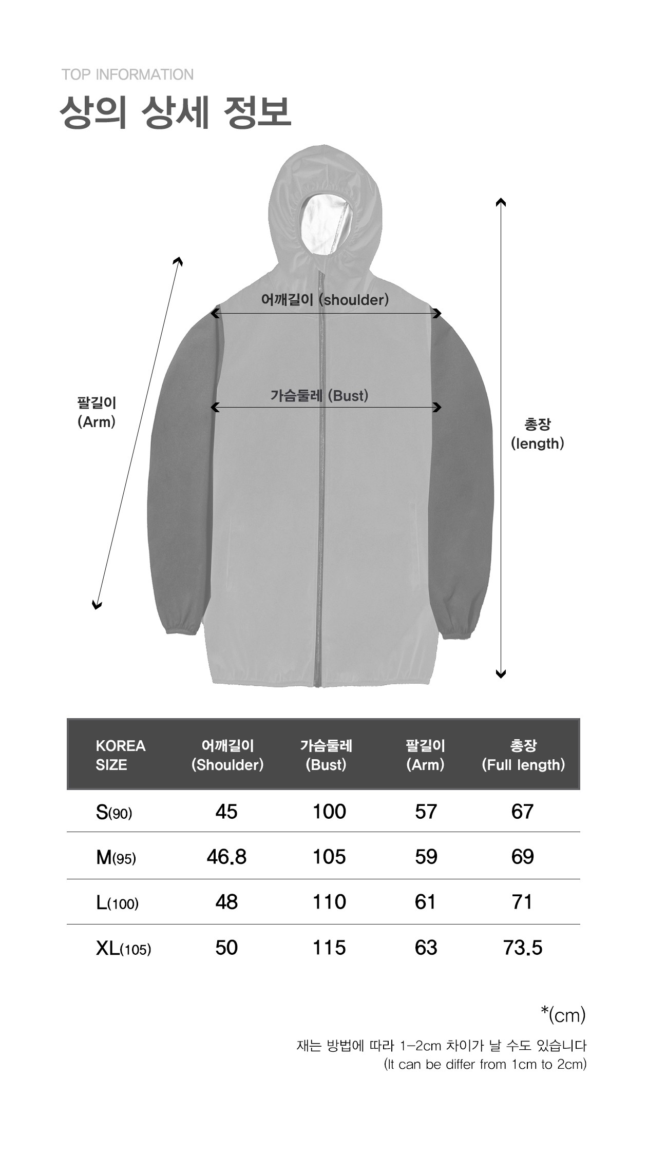 KOREA SIZE 어깨길이(Shoulder) S(90) 45 M(95) 46.8 L(100) 48 XL(105) 50  가슴둘레(Busd) S(90) 100 M(95) 105 L(100) 110 XL(105) 115 팔길이(Arm) S(90) 57 M(95) 59 L(100) 61 XL(105) 63  총장(Full length) S(90) 67 M(95) 69 L(100) 71 XL(105) 73.5 *(cm) 재는 방법에 따라 1~2cm 차이가 날 수도 있습니다(It can be differ from 1cm to 2cm)